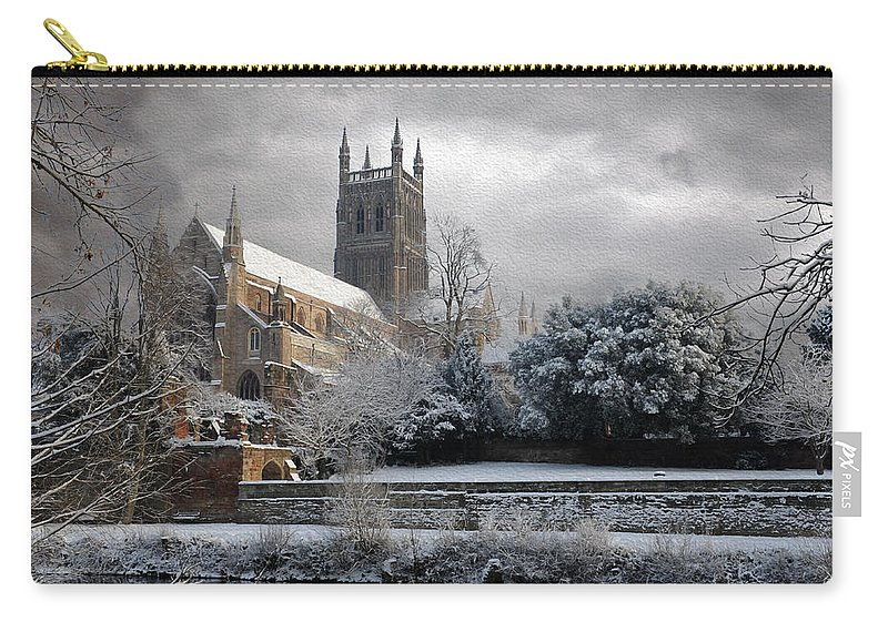 Cathedral Carry-all Pouch featuring the photograph Worcester Cathedral Cloudy by Roy Pedersen