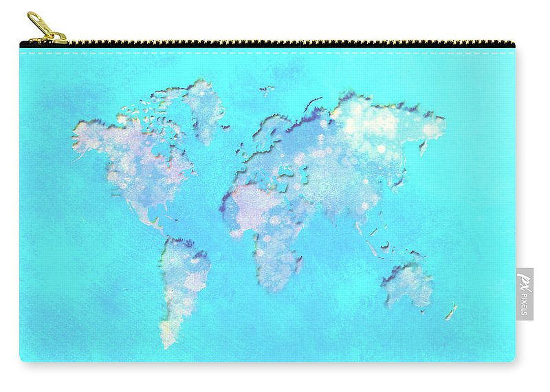 World Carry-all Pouch featuring the digital art World Map 1b by Brian Reaves