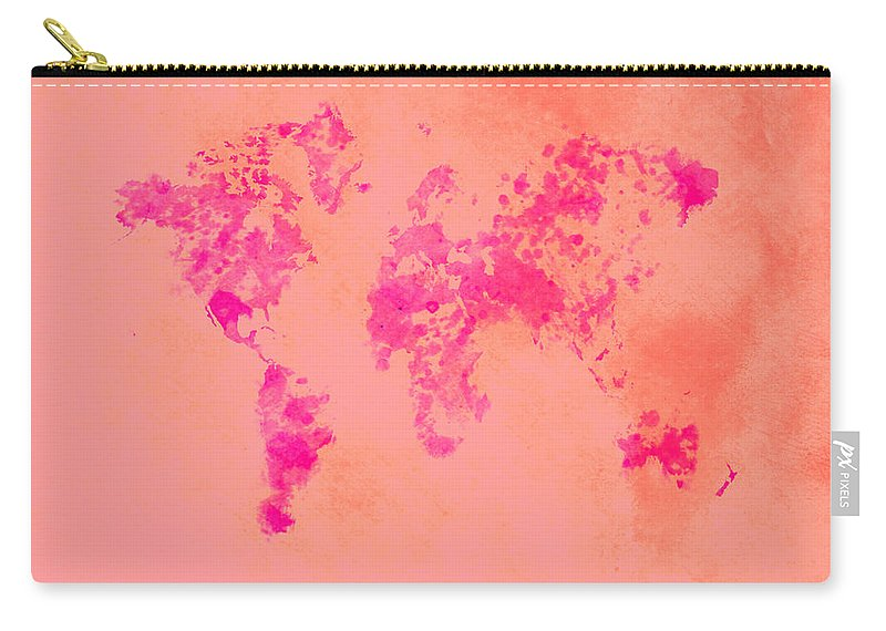 World Carry-all Pouch featuring the digital art World Map 1p by Brian Reaves