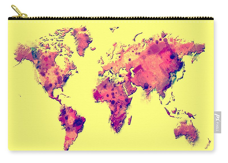 World Carry-all Pouch featuring the digital art World Map 1t by Brian Reaves