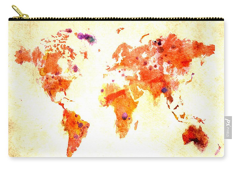 World Carry-all Pouch featuring the digital art World Map 2d by Brian Reaves