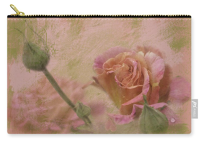 Roses Carry-all Pouch featuring the photograph World Peace Roses With Texture by Diane Schuster