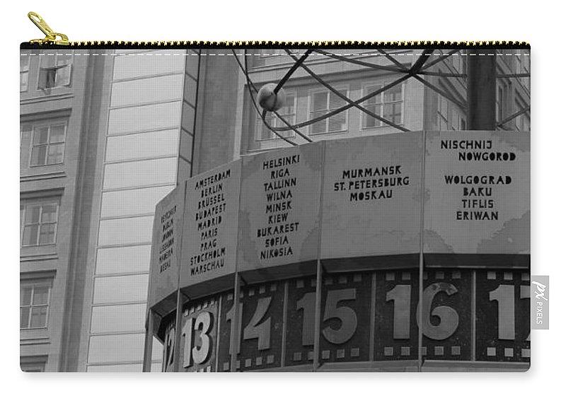 World Time Clock Berlin Germany East Gdr Alexanderplatz Photograph Bw Sw Carry-all Pouch featuring the photograph World Time Clock Berlin by Steve K