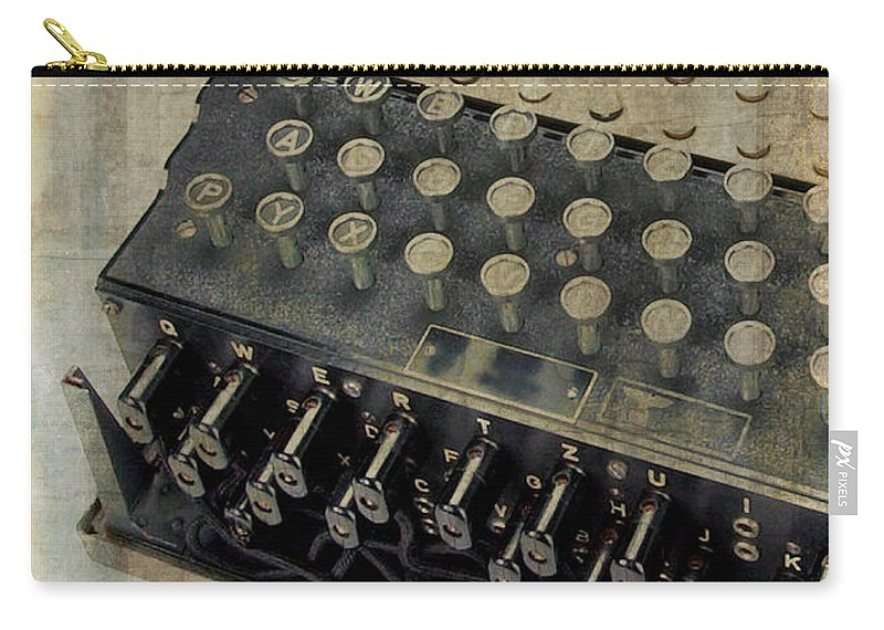 Enigma Carry-all Pouch featuring the photograph World War II Enigma Secret Code Machine by Edward Fielding