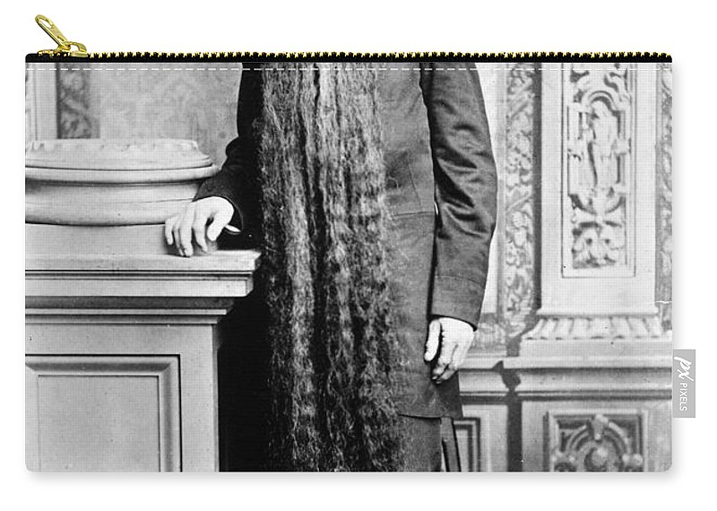 1878 Carry-all Pouch featuring the photograph World's Longest Beard by Granger