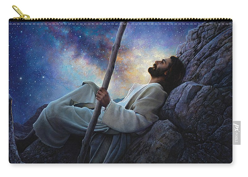 Jesus Carry-all Pouch featuring the painting Worlds Without End by Greg Olsen