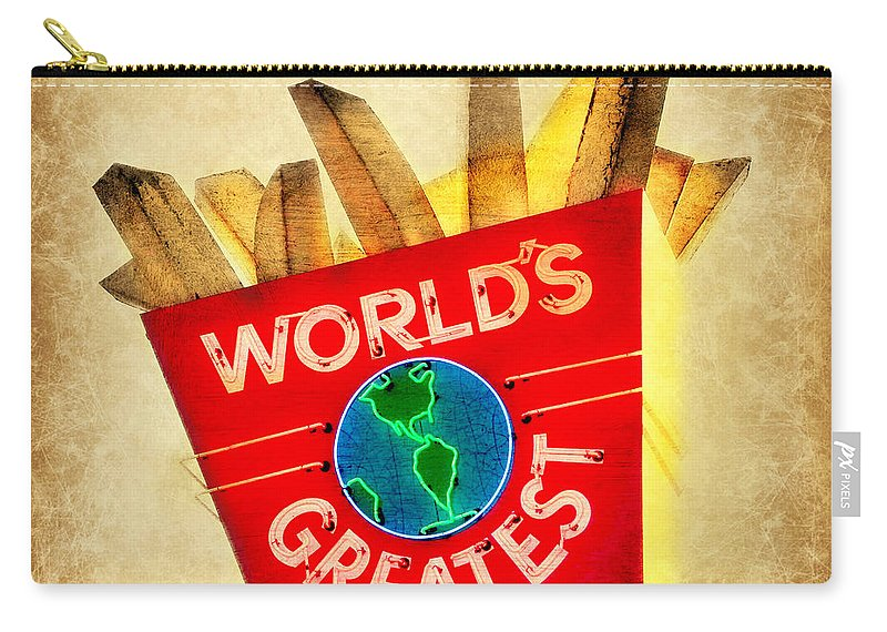 Neon Carry-all Pouch featuring the photograph World's Greatest Fries by Beth Ferris Sale