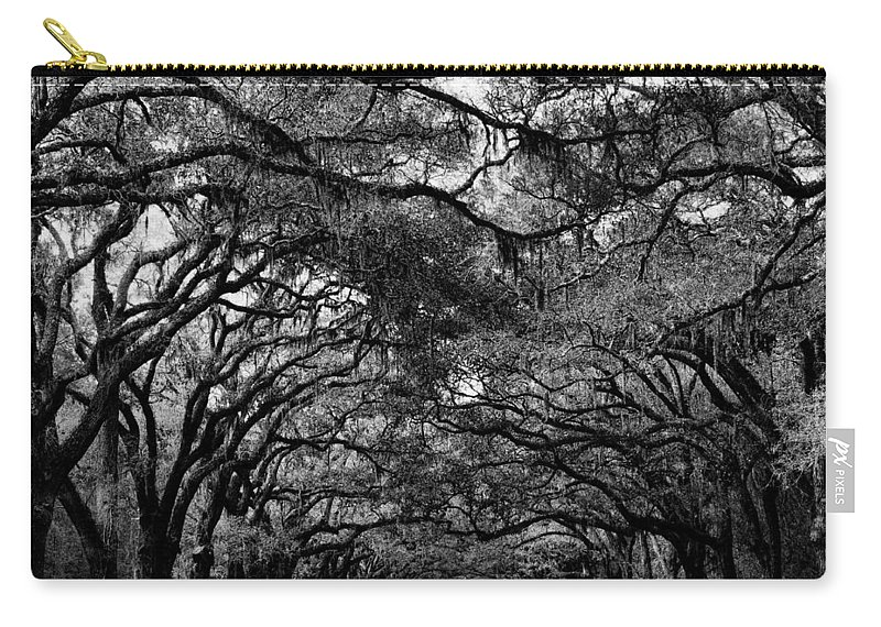 Wormsoe Plantation Carry-all Pouch featuring the photograph Wormsloe Plantation B-w by Ericamaxine Price