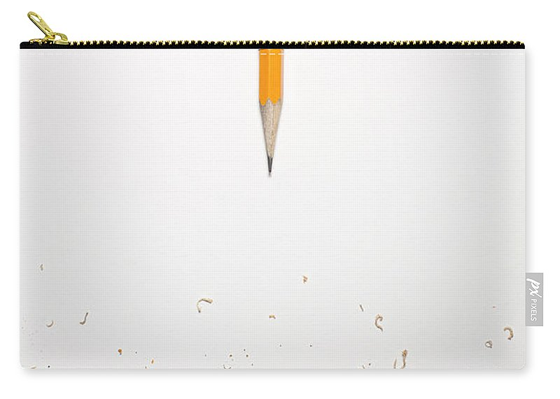 White Background Carry-all Pouch featuring the photograph Worn Down Pencil With Shaving by Chris Parsons