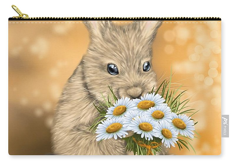 Bunny Carry-all Pouch featuring the painting Would You Like To Go Out With Me? by Veronica Minozzi