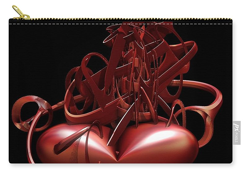 Heart Carry-all Pouch featuring the digital art Wounded Heart by Sara Raber