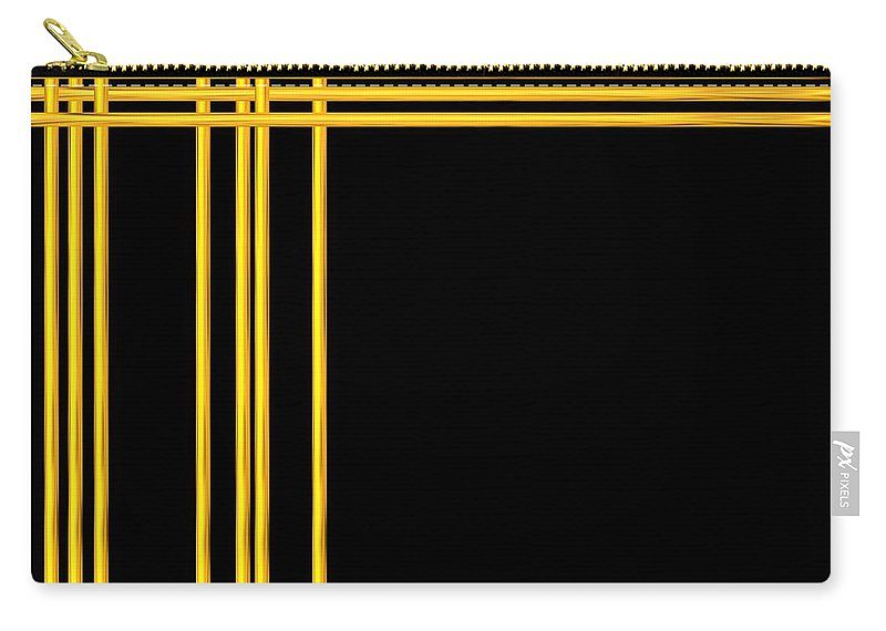 Golden Carry-all Pouch featuring the digital art Woven 3d Look Golden Bars Abstract by Rose Santuci-Sofranko
