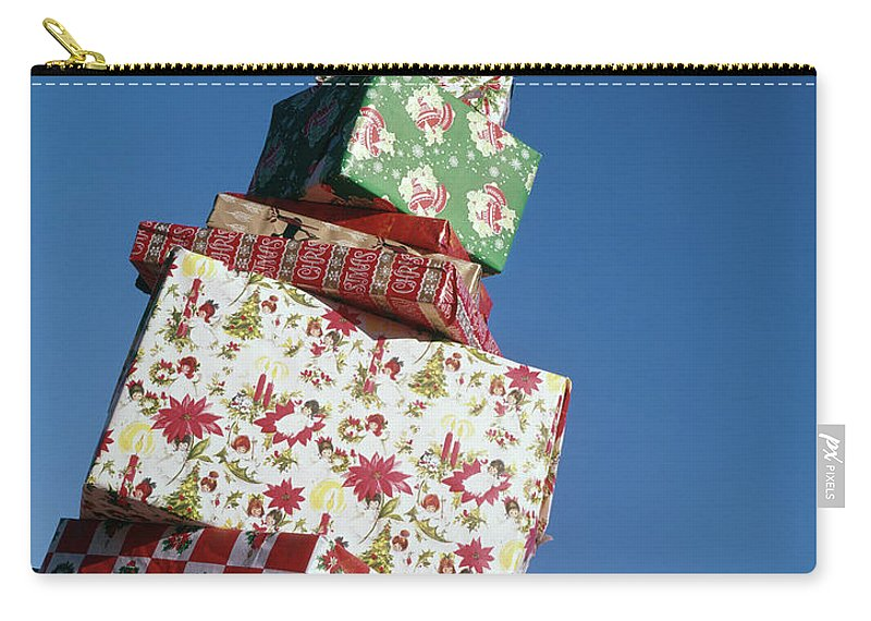 Photography Carry-all Pouch featuring the photograph Wrapped Christmas Present Stacked by Vintage Images