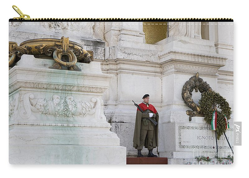 Travel Carry-all Pouch featuring the photograph Wreath And Guard At The Tomb Of The Unknown Soldier by Jason O Watson