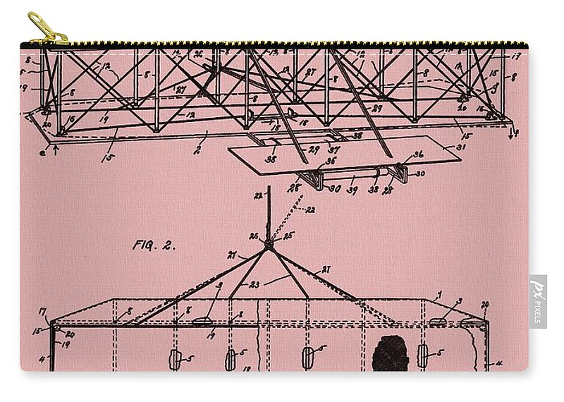 The Wright Brothers Airplane Patent Carry-all Pouch featuring the mixed media Wright Brothers Patent Red by Dan Sproul