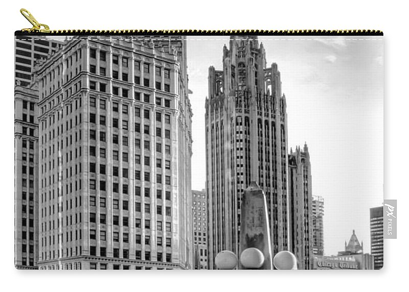 Architecture Carry-all Pouch featuring the photograph Wrigley and Tribune by Scott Norris