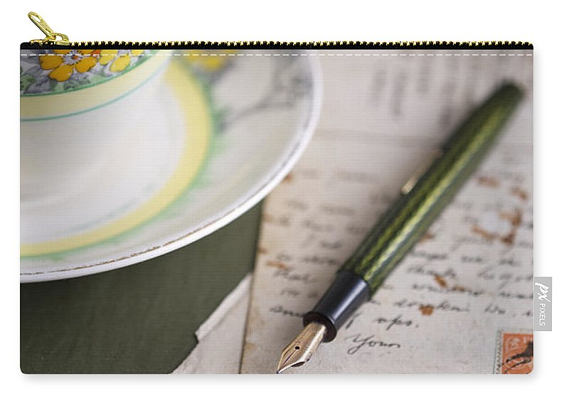 Correspondence Carry-all Pouch featuring the photograph Writing A Post Card by Lee Avison