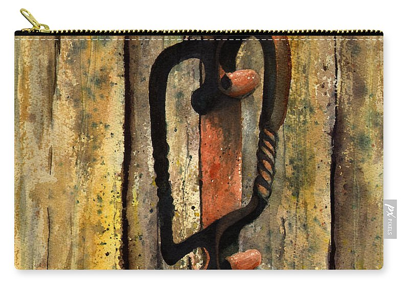 Rust Carry-all Pouch featuring the painting Wrought Iron Handle by Sam Sidders