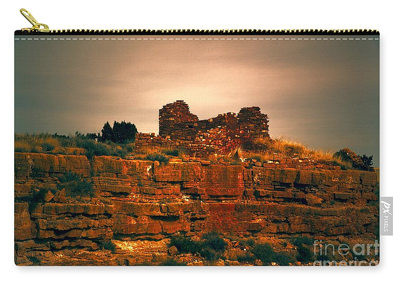 San Francisco Peaks Carry-all Pouch featuring the photograph Wupatki National Monument-ruins V13 by Douglas Barnard
