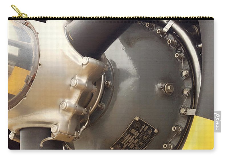 Propeller Carry-all Pouch featuring the photograph Ww II Airplane Engine by Thomas Woolworth