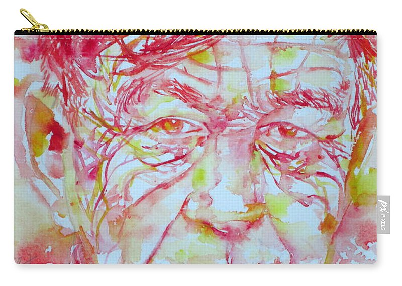 Auden Carry-all Pouch featuring the painting Wystan Auden Watercolor Portrait by Fabrizio Cassetta