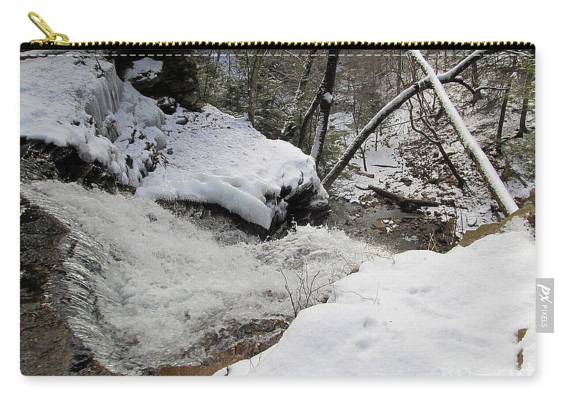 Winter Waterfalls Appalachian Waterfalls Pennsylvania Waterfalls Protect Water Quality Carry-all Pouch featuring the photograph X Marks The Drop by Joshua Bales