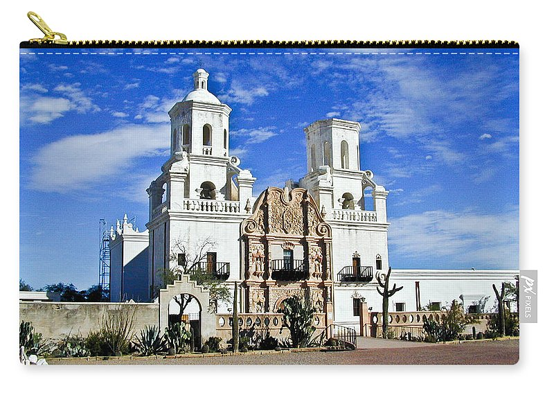 Mission San Xavier Del Bac Carry-all Pouch featuring the photograph Xavier Tucson Arizona by Douglas Barnett