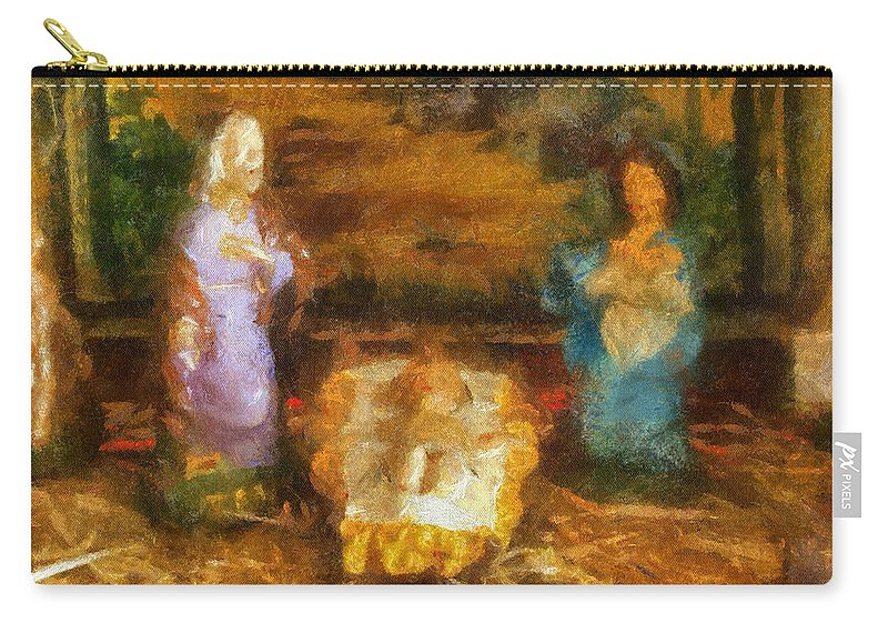 Baby Jesus Carry-all Pouch featuring the photograph Xmas Baby Jesus Photo Art by Thomas Woolworth