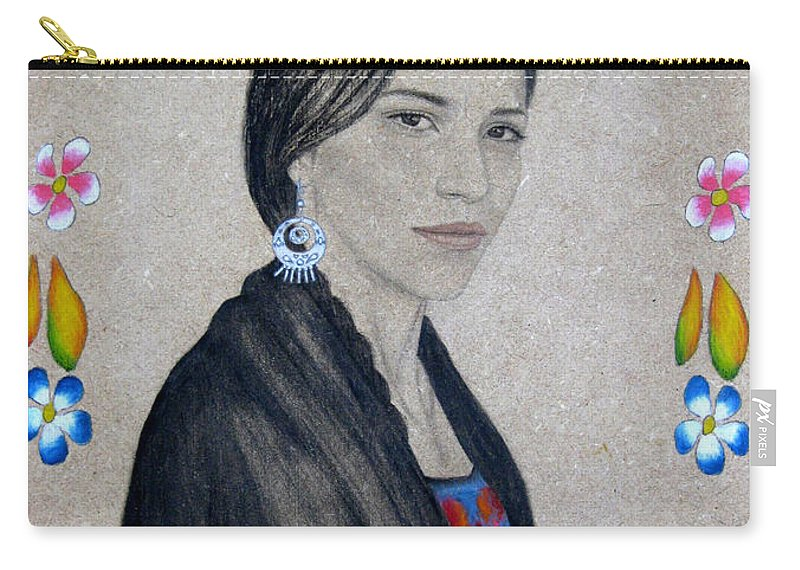 Flower Carry-all Pouch featuring the painting Xochitl by Lynet McDonald