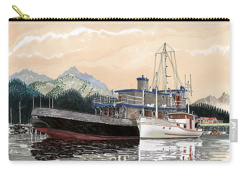 Yacht Portraits Carry-all Pouch featuring the painting Alaskan Sunrise by Jack Pumphrey