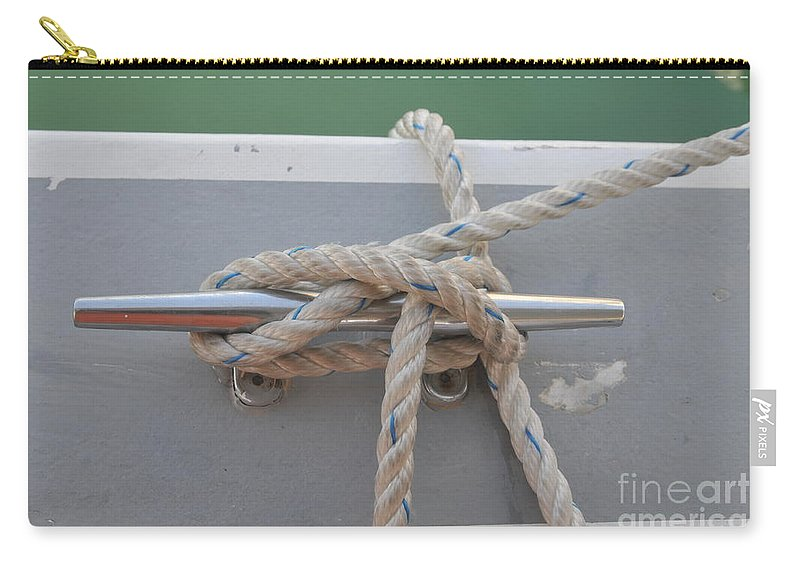 Yacht Carry-all Pouch featuring the photograph Yacht Secured To A Jetty by Shay Levy