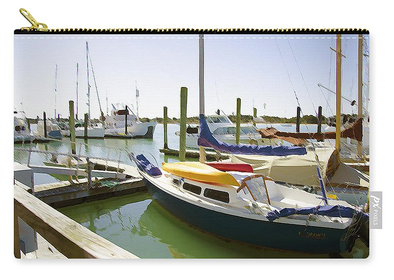 Jaffa Carry-all Pouch featuring the painting Yachts In A Port 1 by Jeelan Clark