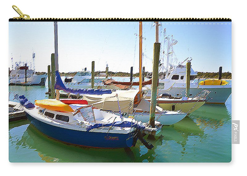 Jaffa Carry-all Pouch featuring the painting Yachts In A Port 4 by Jeelan Clark