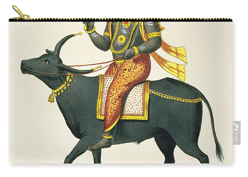 Hindu Carry-all Pouch featuring the drawing Yama, God Of The Invisible World by French School