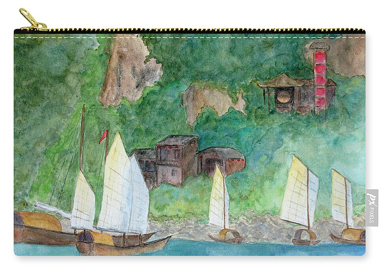 Yangtze River Carry-all Pouch featuring the painting Yangtze Boats by Patricia Beebe