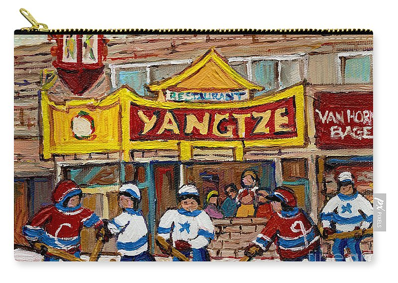 Montreal Carry-all Pouch featuring the painting Yangtze Restaurant With Van Horne Bagel And Hockey by Carole Spandau
