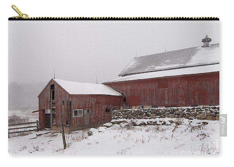 Connecticut Carry-all Pouch featuring the photograph Yankee Farmlands No 19 - Winter Snow And New England Barn by JG Coleman