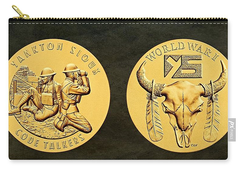 Yankton Sioux Tribe Carry-all Pouch featuring the photograph Yankton Sioux Tribe Code Talkers Bronze Medal Art by Movie Poster Prints