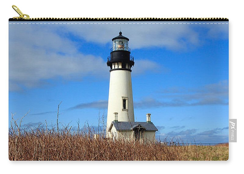 Yaquina Bay Lighthouse Carry-all Pouch featuring the photograph Yaquina Bay Lighthouse In Oregon by Athena Mckinzie