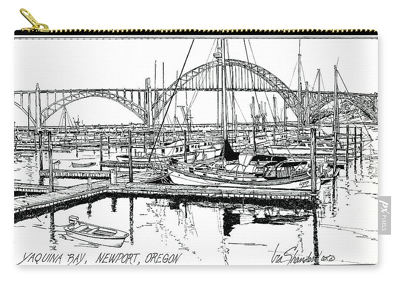 Yaquina Bay Carry-all Pouch featuring the drawing Yaquina Bay Newport Oregon by Ira Shander