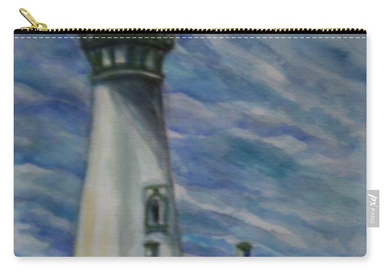 Quin Sweetman Carry-all Pouch featuring the painting Yaquina Head Lighthouse Original Painting by Quin Sweetman