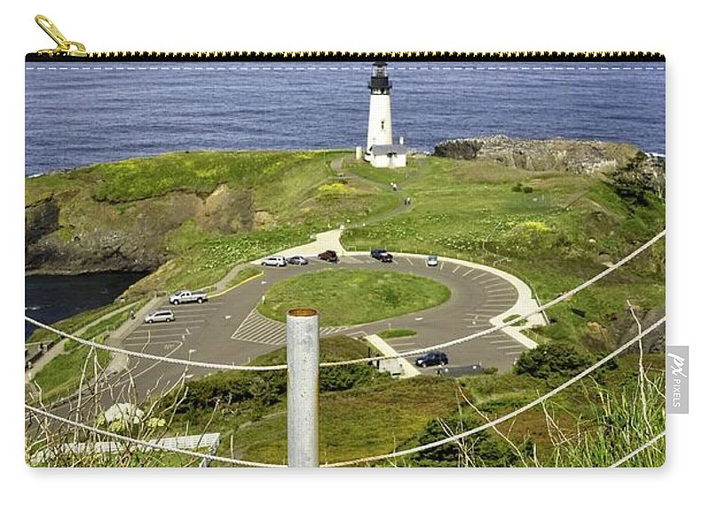 Newport Carry-all Pouch featuring the photograph Yaquina Lighthouse From Salal Hill Trail by Image Takers Photography LLC - Laura Morgan
