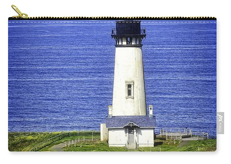 Newport Carry-all Pouch featuring the photograph Yaquina Lighthouse From The Big Hill by Image Takers Photography LLC - Laura Morgan