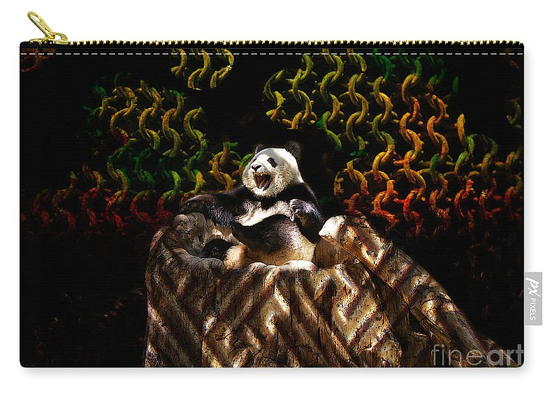 Yawning Carry-all Pouch featuring the photograph Yawning Panda by Mariola Bitner