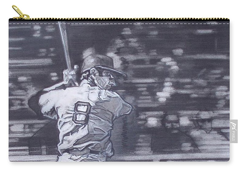 Charcoal On Paper Carry-all Pouch featuring the drawing Yaz - Carl Yastrzemski by Sean Connolly