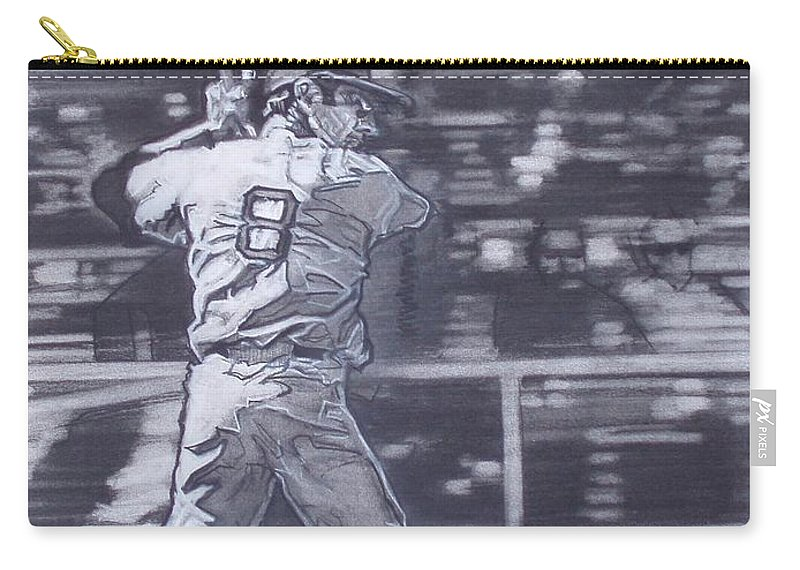 Charcoal Carry-all Pouch featuring the drawing Yaz - Carl Yastrzemski by Sean Connolly