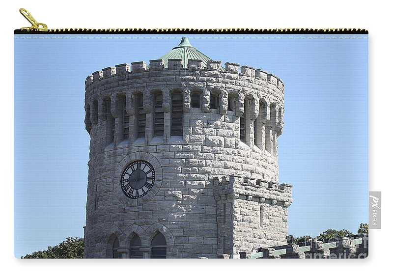Ye Old Castle Clock Tower Carry-all Pouch featuring the photograph Ye Old Castle Clock Tower by John Telfer