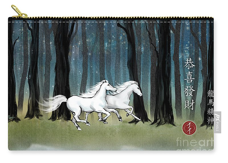 White Horses Carry-all Pouch featuring the painting Year Of The Wood Horse by Jenn Tse