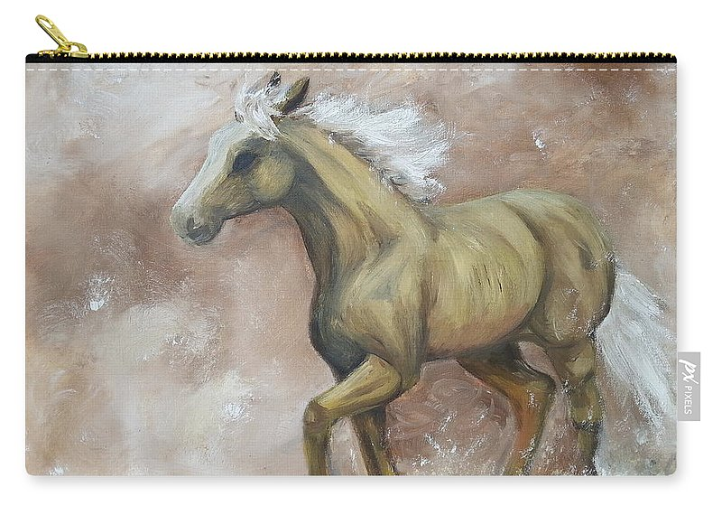 Horse Carry-all Pouch featuring the painting Yearling In Storm by Abbie Shores