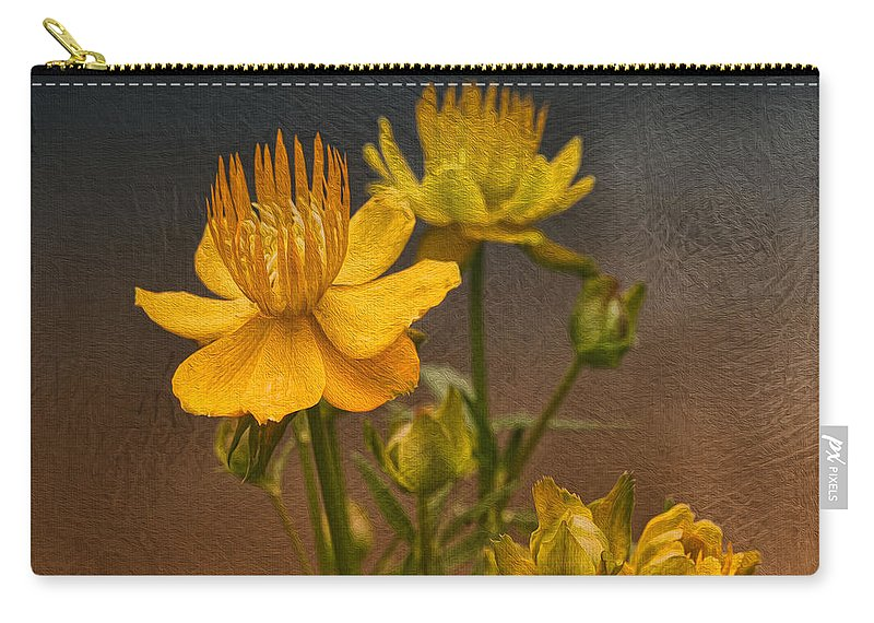 Flower Carry-all Pouch featuring the photograph Yellow Aged Floral by Deborah Benoit
